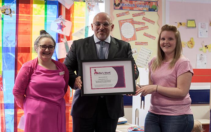 From left: Sarah Hudson, Nursery Manager; local MP; Tara Richards, Deputy Manager