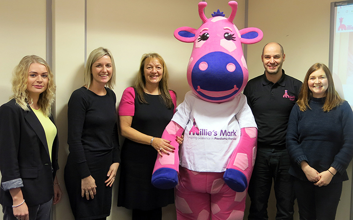 The panel with Millie the giraffe
