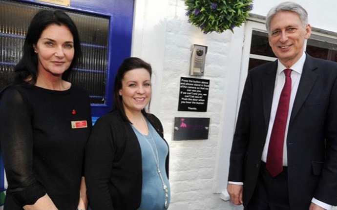 Philip Hammond with staff at Monkey Puzzle Weybridge